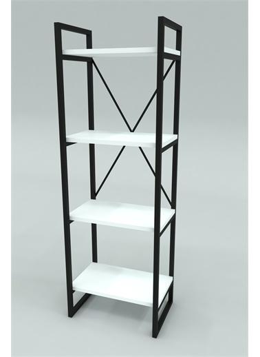 Mobitopya Nilamu Beyaz Saksılık, 4 Raflı, Metal Aksamlı, Kitaplık, Organizer, Ofis, Ev, Dekoratif Beyaz